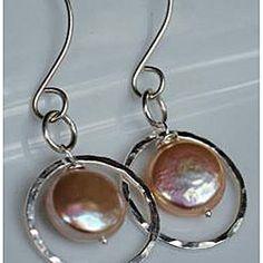 Silver and Peach Pearl Circle Dangle Earrings