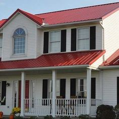 Residential Metal Roofing | Consider metal for your new roof Residential Metal Roofing, Metal Roofing Systems, Two Story Homes, House Colors, Brick, Photo Galleries, Porch, Garage Doors, Cottage