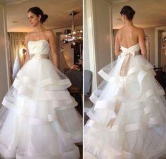 M464 Open Back Ball Gown Wedding Dress 2017 Sweetheart Bridal Dresses Sashes Bow Tiered Design vestido de noiva Sweep Train