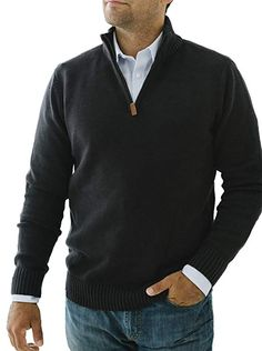 Half Zip Sweaters, Black Sweaters, Pullover Sweaters, Men Sweater, Mens Fashion, Fashion Outfits, Men's Outfits, Brand Store, Half Zip Pullover
