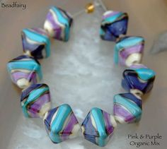 10 Pink Purple Organic Crystals Lampwork Beads , glass beads by Beadfairy Lampwork, SRA