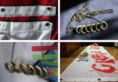 """a necklace made of rest of a streeet banner """"Greve Geral"""""""