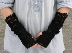 Dark Secret  crocheted open work lacy long by hypericumfragile