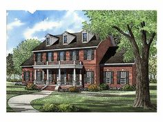 Find your dream southern style house plan such as Plan which is a 3394 sq ft, 5 bed, 3 bath home with 3 garage stalls from Monster House Plans. Colonial House Plans, Colonial Style Homes, Southern House Plans, House Floor Plans, Southern Homes, Bateau Rc, Monster House Plans, Georgian Homes, Street House