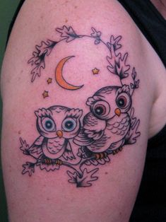 Here's a pretty cute one of some baby owls by Graham - harder to draw than you'd think… http://www.purplepanthertattoos.com/