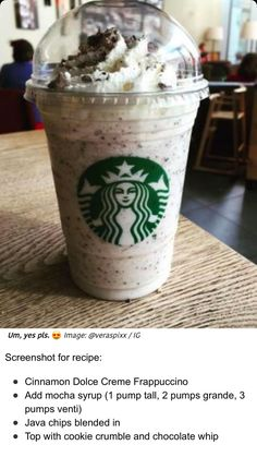 Starbucks Hacks, Starbucks Secret Menu Drinks, Secret Starbucks Drinks, Starbucks Cookies, Starbucks Frappuccino, Starbucks Coffee, Frappuccino Recipe, Frappe, Cinnamon Dolce