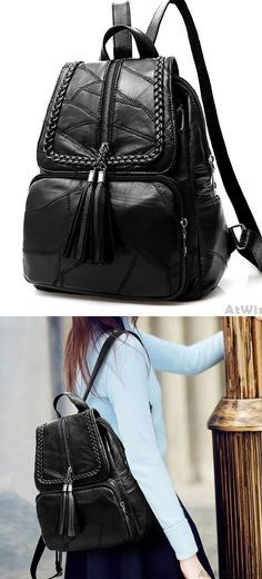 02248ac2971b Leisure Women's Black Leather School Bag Large Weave Tassel Backpack only  $34.99