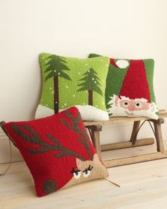 Hable Holiday Hooked Pillow Cover