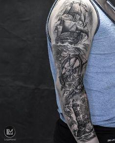 Arm tattoo sea composition info luigimansi it inst Pirate Tattoo Sleeve, Sea Tattoo Sleeve, Ship Tattoo Sleeves, Nautical Tattoo Sleeve, Best Sleeve Tattoos, Nature Tattoo Sleeve, Tattoo Sleeve Designs, Tattoo Designs Men, Nautical Tattoos
