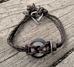 Men's Recycled Washer Leather Bracelet