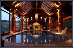 Indoor pool - Log Home - Awesome.  I can't even imagine, but as long as I am dreaming.....