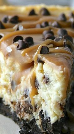 Salted Caramel Chocolate Chip Cheesecake | Posted By: DebbieNet.com |