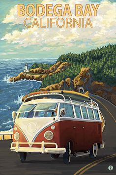 Bodega Bay California  VW Van Coastal Art by NightingaleArtwork