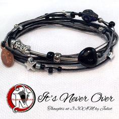 <b>Thread:</b> Black<b>Thread:</b> Silver<b>Colored Glass Beads:</b> Black, Silver, Silver Lined<b>Skull:</b> Black Howlite Turquise <b>Heart:</b> Black Glass<b>Metal Beads:</b> Silver Plate and Tibetan Silver<b>Star:</b> Tibetan Silver<b>Tag:</b> NTIO/<b>Juliet's Signature</b> (copper)<b>Size:</b> Fits All<b>Close-up Photo:</b> Not Actual SizePart of Juliet's <b>Thoughts at 3:30 AM Line Line</b>.  Be sure to hash tag