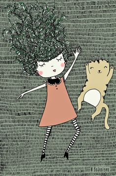 Garden girl and her little cat illustration by Bodesigns