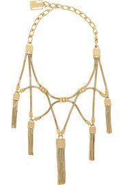 Tasseled gold-tone crystal necklace
