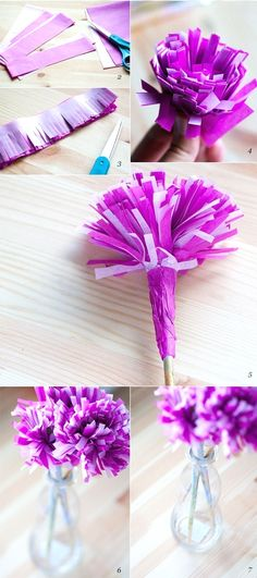 easy paper flower made from pink and purple fringed paper, flowers with stems in a glass vase Source by archzinefr How To Make Paper Flowers, Diy Flowers, Flower Decorations, Flower Ideas, Flower Making, Diy Paper, Origami, Violet, Punch