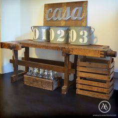 This authentic carpenter's table is an outstanding piece of interior decoration and an incredible show piece, which would be ideal to use as a sideboard or kitchen island