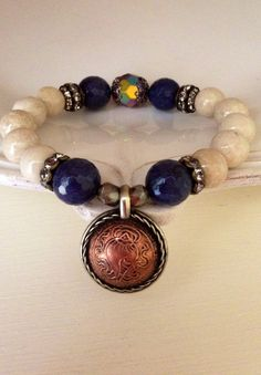 Sapphire faceted Agate beaded stretch by CountryChicCharms on Etsy, $42.00