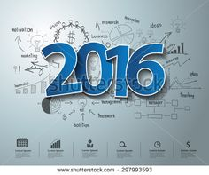 Blue tags label 2016 text design on creative thinking drawing business success strategy plan ideas concept, Inspiration concept modern template layout, diagram, step up options, Vector illustration