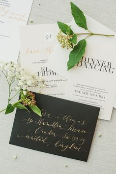 Calligraphy wedding invitations   Image by Cécile Creiche