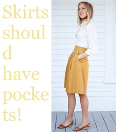 emerson made the pockets skirt in goldie.