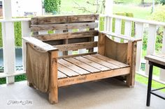 Pressure washed pallet chair on a patio / FunkyJunkInteriors.net