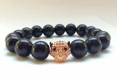 18kt Rose Gold Leopard Head, 11mm CZ Diamond Bead With 10mm Glossy Black Onyx Bracelet, Black Onyx Beads, Men's or Women's by CsDezigns on Etsy