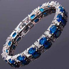 Pulseira Safira Azul Diamante Folheada Ouro Branco 18k