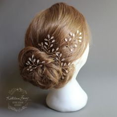Sarah Faye Leaf hair pins Bridal wedding by KathleenBarryJewelry