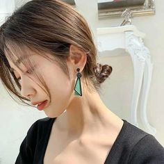 Charm Jewelry 2020 New Fashion Triangle Geometric Long Drop Earrings For Women Orange Green Jointed-Color Wooden Earrings | Touchy Style Cute Earrings, Unique Earrings, Women's Earrings, Earrings Handmade, Silver Charm Bracelet, Charm Jewelry, Pinterest Jewelry, Wooden Earrings, New Fashion