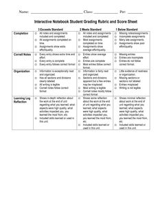 interactive notebook templates | Interactive Notebook Student Grading Rubric and Score Sheet