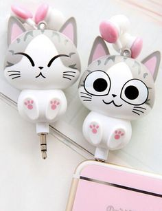 """Cute cartoon cat modelling phone headset line sold by Asian Cute {Kawaii Clothing}. Shop more products from Asian Cute {Kawaii Clothing} on Storenvy, the home of independent small businesses all over the world. Code """"sunflower"""" for off. Kawaii Shop, Kawaii Cute, Kawaii Stuff, Kawaii Things, Chi's Sweet Home, Cute Headphones, Accessoires Iphone, Asian Cute, Cat Pattern"""