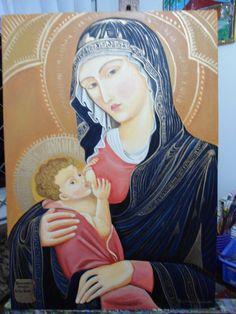 """""""Nuestra Señora de la leche"""" acrílica s/ tela"""