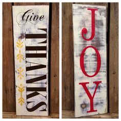 Reversible Holiday Sign GIVE THANKS JOY Wood by SouthernFarmhouse