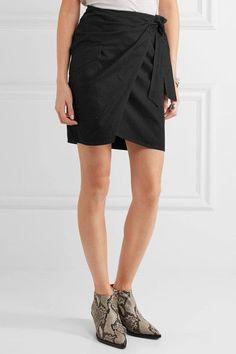 Étoile Isabel Marant - Olga Cotton-twill Wrap Mini Skirt - Black - FR34