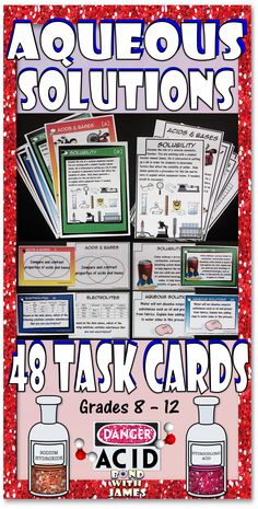 48 Aqueous Solutions Task Cards #chemistry