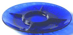 Retired AVON ROYAL BLUE SAPPHIRE 5 Part Relish Dish Platter 13""