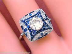 Art Deco .95 ct European Cut Diamond and .90 cttw Cabochon Sapphire and Platinum Ring
