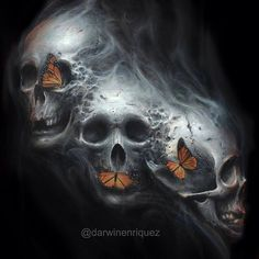 butterflys with skulls