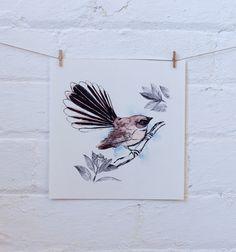 New Zealand Fantail bird art print by SherylColeArt on Etsy