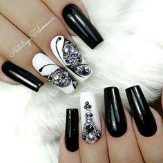 Are you looking for short long square nail art design ideas? See our collection full of short long square nail art design ideas and get inspired! Creative Nail Designs, Beautiful Nail Designs, Creative Nails, Nail Art Designs, Nails Design, Fabulous Nails, Perfect Nails, Gorgeous Nails, Black Acrylic Nails