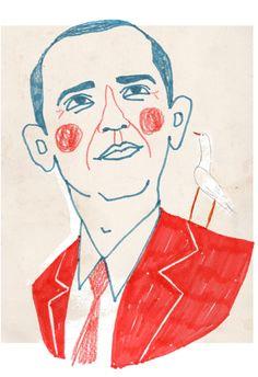 Porträtt | Kristin Lidström Een portret van Obama in dezelfde kleuren als zijn beroemde campagne poster. Door de simpele lijnen en frisse kleuren wordt het een losstaand portret.