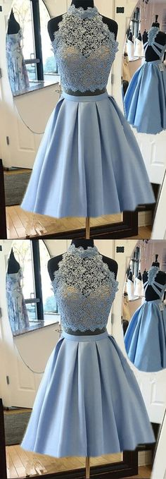 Elegant Light Blue Homecoming Dresses Lace Crop Top Prom Dresses Two Piece
