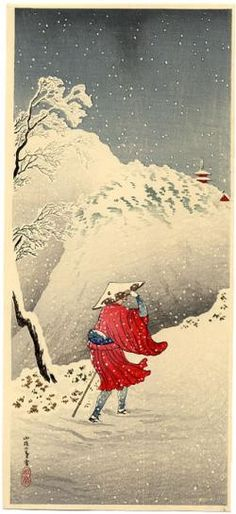 Shotei, Takahashi Mt. Path in Snow in Twilight (Travelling Priest)