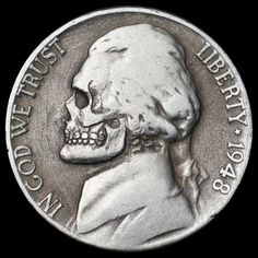 SETH BASISTA HOBO NICKEL - SKULL - 1948 JEFFERSON NICKEL Indian Skull, Hobo Nickel, Coin Art, Vanitas, Diy Arts And Crafts, Coin Collecting, Skull Art, Magick, Art Projects