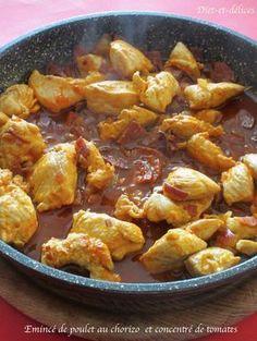 Emincé de poulet au chorizo et au concentré de tomates