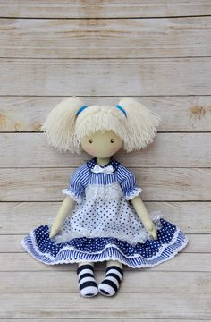 Textile doll, decorative doll, collector dolls, doll cotton, rag doll, art doll