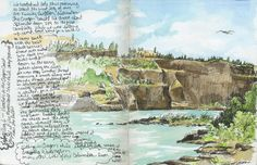 Friday Aug 6th - Stayed at the Memaloose State Park near The Dalles, Oregon. Sitting in Oregon while drawing Washington on the other side of the Columbia River.