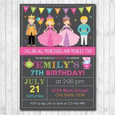 Princesses and Princes Birthday Party Invitation Card - Tea Party - Digital Printable File by funkymushrooms on Etsy
